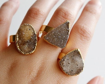 Gold Organic Shape Agate Druzy Gemstone Rings - One of a Kind - Statement Rings, Spring Fashion