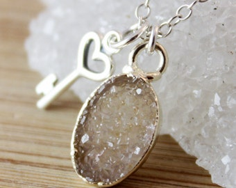 50% OFF SALE - Oval Druzy Necklace with Key Charm Necklace, Champagne Druzy Pendant