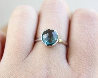 Silver London Blue Topaz Quartz Ring - Round London Blue Topaz Ring - December Birthstone Ring, December Topaz