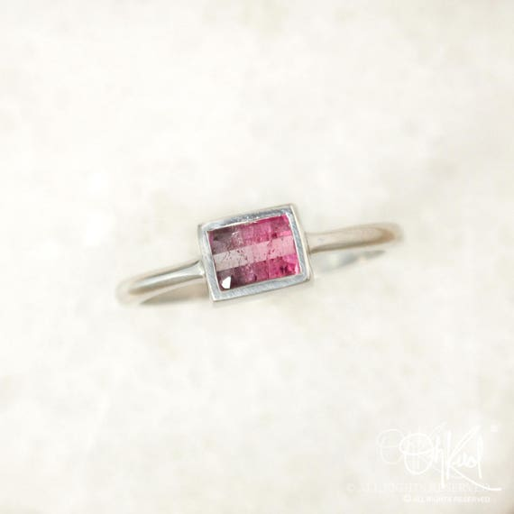 Etched Silver Pendant Gold Settings Ombre Pink Tourmaline