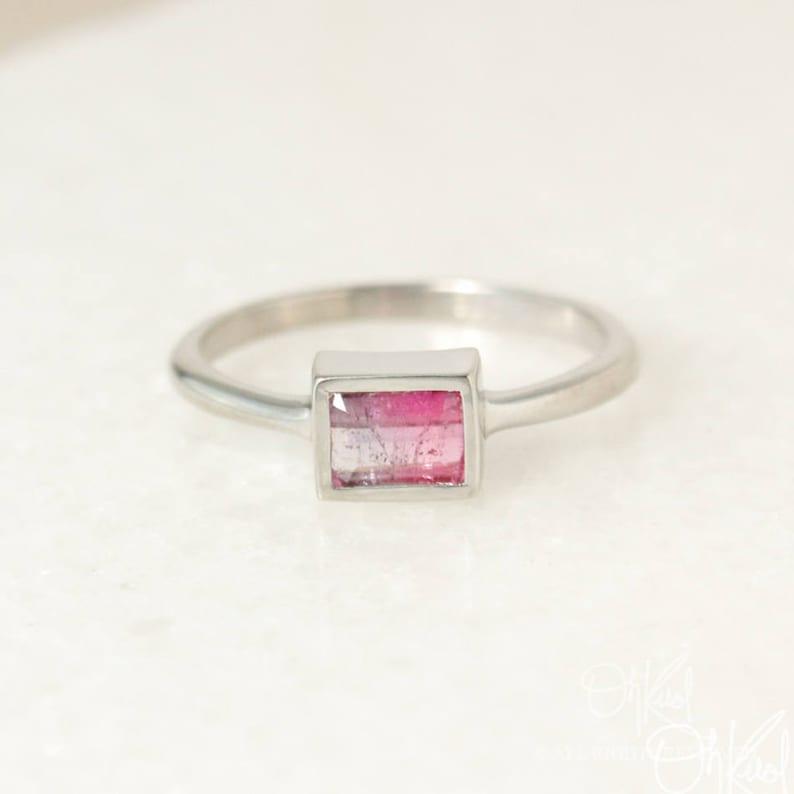 Rectangular Cut Bezel Setting Silver Pink Ombre Tourmaline Ring