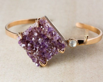 Reserved for Lynn - Purple Druzy Statement Bangle – Blue Moonstone – 925 Sterling Silver w/ Rose Gold Plating