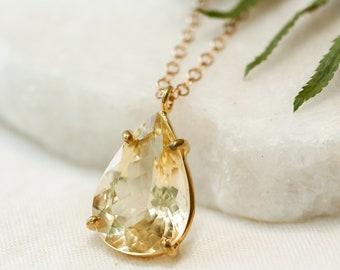 Reserved for K - Pear Cut Golden Beryl Pendant, Crown Chakra Pendant, Healing Golden Beryl, Energizing Crystal