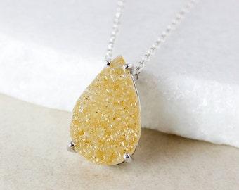 50% OFF SALE - Honey Teardrop Druzy Necklace, Choose Your Druzy Pendant, 925 Sterling Silver