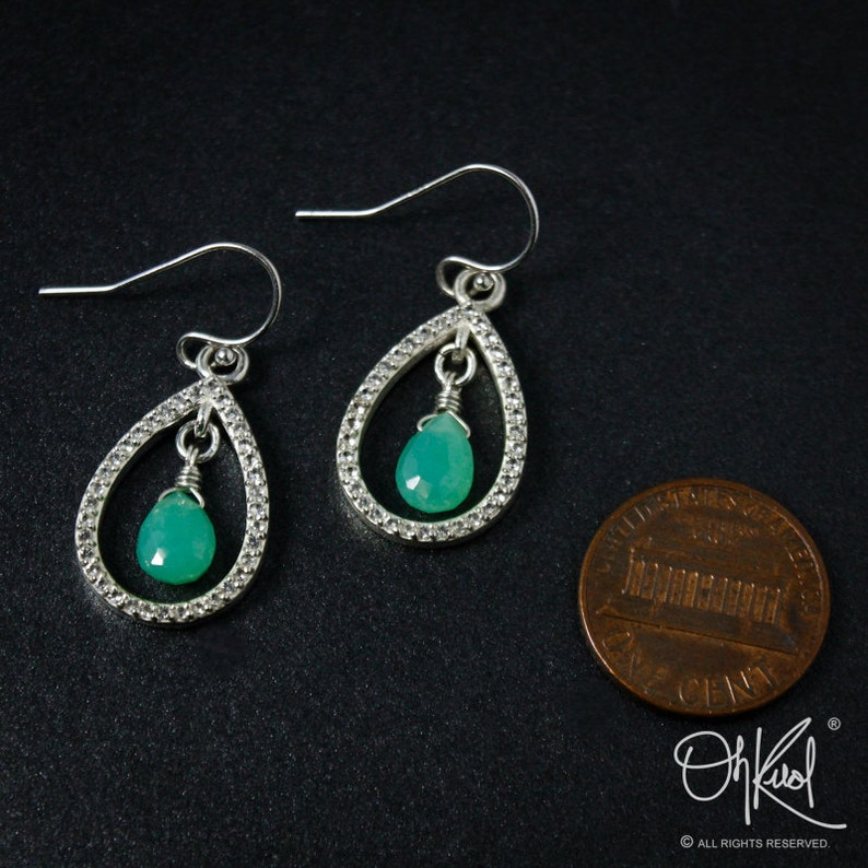 925 Silver Silver Mint Green Chrysoprase /& Pave White Topaz Teardrop Earrings