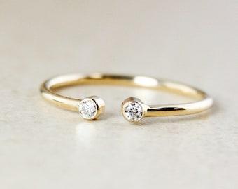 Yellow Gold Dainty Diamond Birthstone Mother Daughter Ring, 10K Yellow Gold 2 Stone Diamond April Birthstone Ring, Dainty Stacking Ring