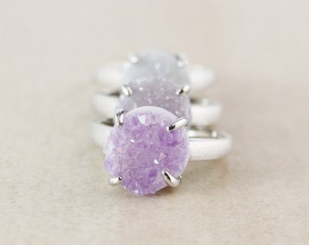 Silver Round Druzy Ring - Natural Agate Druzy - Choose Your Druzy