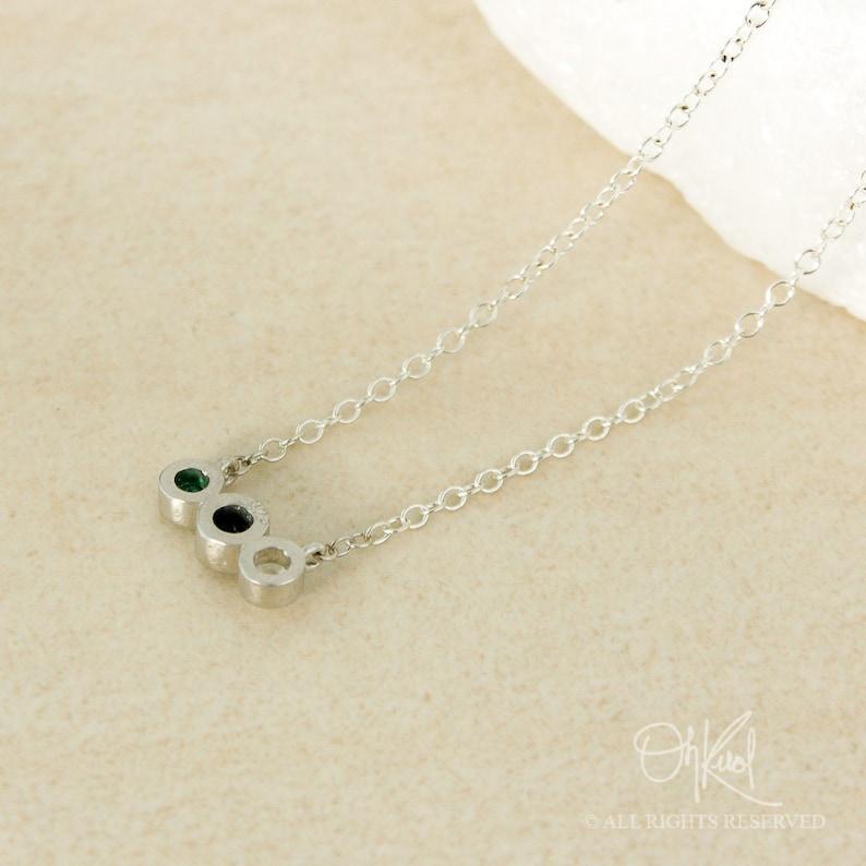 Triple Birthstone Necklace Sentimental Gifts Custom Birthstone Choose Your Stones