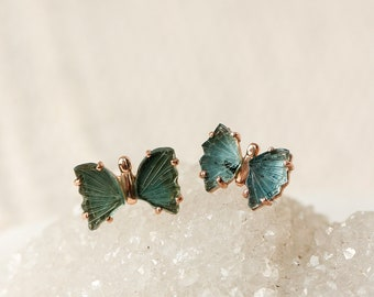 Rose Gold Teal Tourmaline Butterfly Stud Earrings, Blue Chakra Crystal Studs, Healing Throat Chakra, Gift for Wife, Dainty Tourmaline Studs