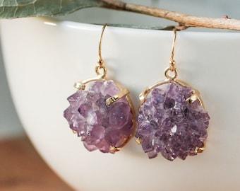 Purple Amethyst Rose Cluster Earrings, Natural Purple Stalactite, Crown Chakra Amethyst, Calming Purple Crystal, Protective Crystal
