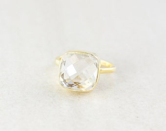 Crystal Quartz Ring - Cushion Cut - Gold Plated Sterling Silver