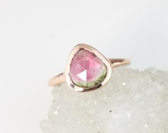 Rose Gold Pear Cut Watermelon Tourmaline Ring, Low Profile Bezel Set Bi Color Tourmaline Ring, Soothing Chakra Ring