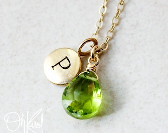 Gold Green Peridot Necklace - August Birthstone - Initial Necklace