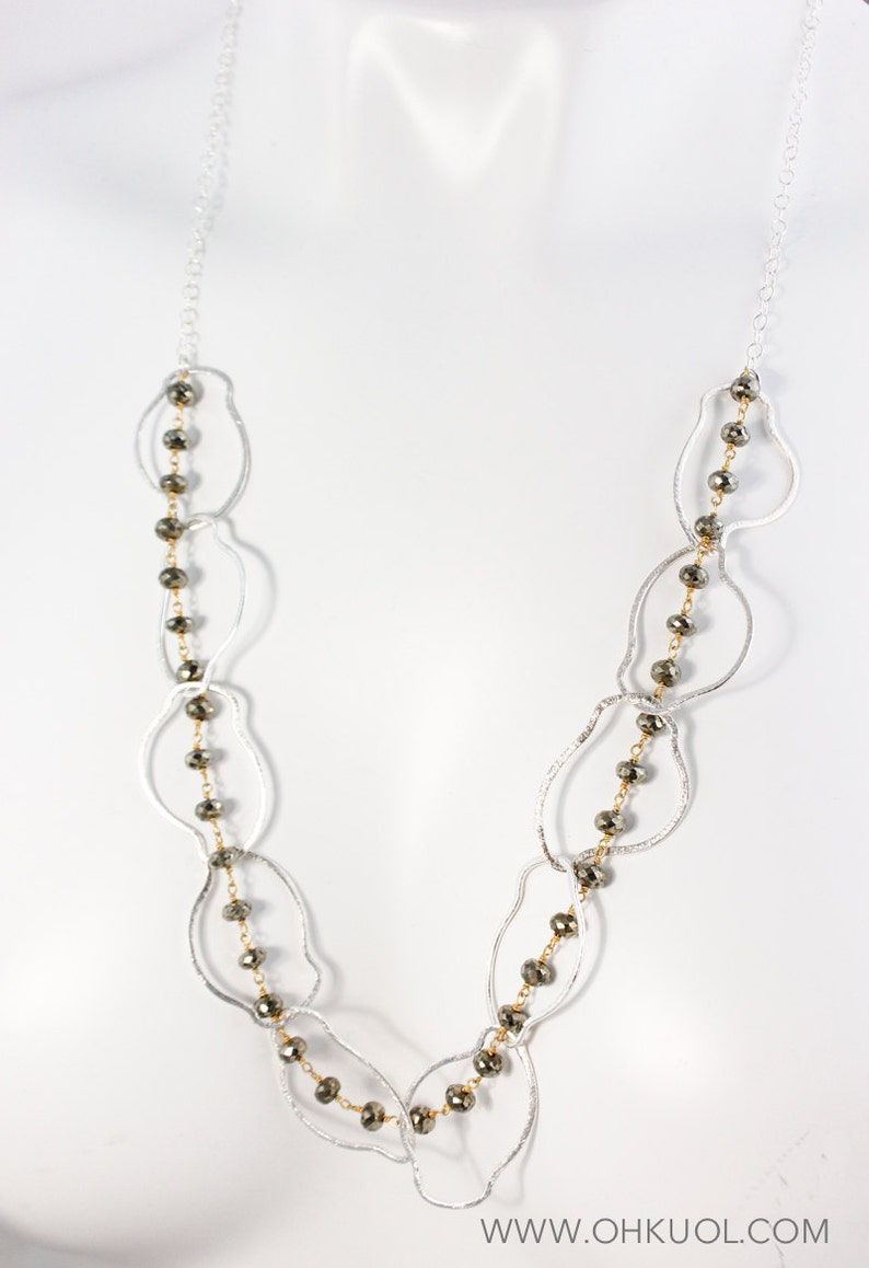 Long Necklace Free Form Hoops Silver Black Pyrite Statement Necklace