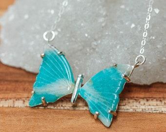 Silver Amazonite Butterfly Pendant, 7 Chakra Pendant, Healing Amazonite, Feminine Energy