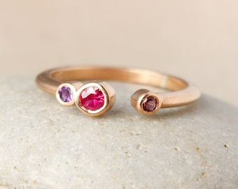 Birthstone Tension Ring - Choose Your Birthstones - Gold, Silver, Rose Gold