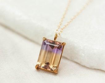 Emerald Cut Ametrine Pendant, Prong Set Ametrine, Purple Ametrine, Protective Pendant, Healing Ametrine