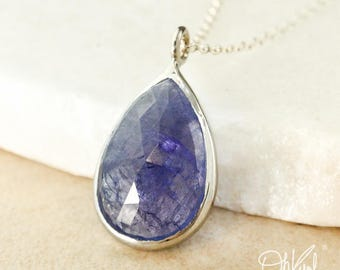 Silver Blue Iolite Teardrop Necklace - Blue Iolite Pendant - Rose Cut Iolite