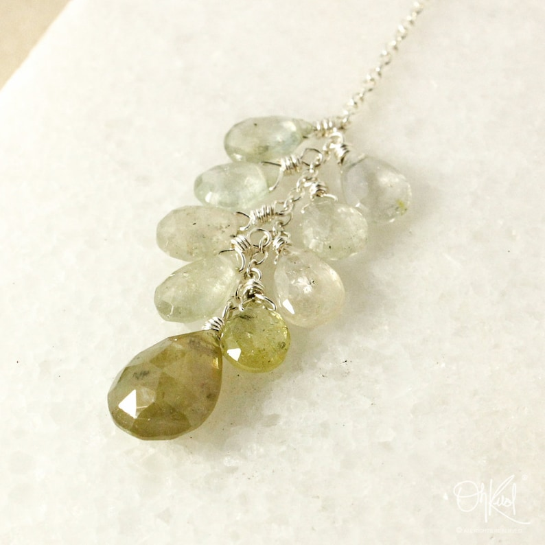 85347c76fa857 Mint Green Sapphire Cluster Necklace