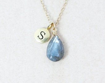 Midnight Blue Labradorite Necklace with Monogram Charm - Gold or Silver