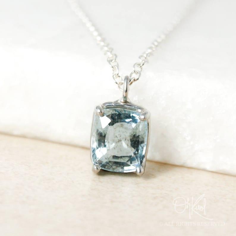 Blue Aquamarine Necklace Rectangular Pyramid Pendant March Birthdays