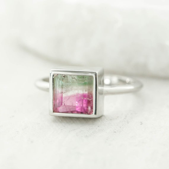 Soothing Good Luck Ring Rose Gold Healing Watermelon Tourmaline Ring Bi Color Bright Pink and Green Tourmaline October Birthstone