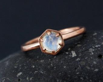 Hexagon Rainbow Moonstone Ring, Geometric Gemstone Ring, Moonstone Birthstone, Elegant Moonstone, Choose Your Setting