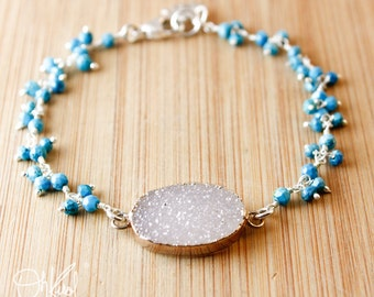 Silver Grey Druzy Bracelet - Turquoise Cluster - Lotus Charm