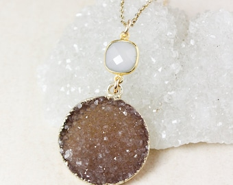 50% OFF SALE - Pink Chalcedony and Neutral Druzy Pendant Necklace, Druzy Geode Slice, 14k Gold Filled Chain