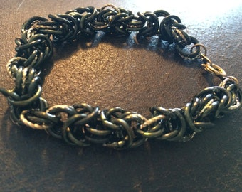 Chain Maille Bracelet , black and gold rings