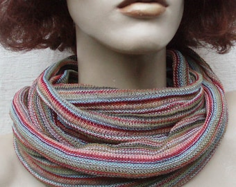 Infinity scarf cowl wrap shrug Copper Ruby Moss warm colors