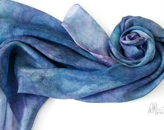 Silk Square Scarf,  hand-painted, Blue Azurite, Indigo