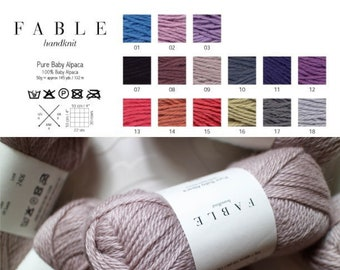 100% Baby Alpaca Yarn from Peru, DK Weight, 50 g, Luxurious and soft yarn by Fable Handknit