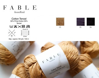 Cotton Tercel Yarn from Peru, Worsted Weight, 50g, Smooth and Silky, Luxury Pima Cotton by Fable Handknit