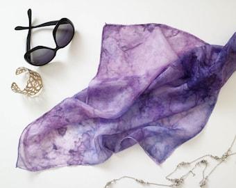 Silk Square Scarf, hand-painted, purple, Amethyst Purple VIolet