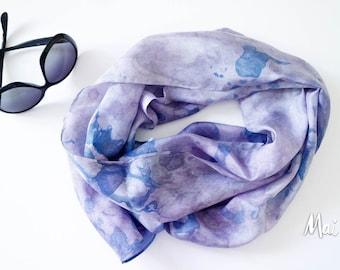 Silk Scarf, rectangular,  hand-painted, blue, lavender, purple