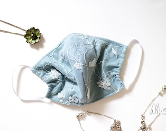 Couture Lace Face Mask, 100% Silk Lining, blue, silver