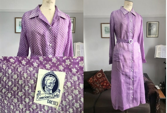 1930s VOLUP Lilac Cotton Voile shirt dress with ma