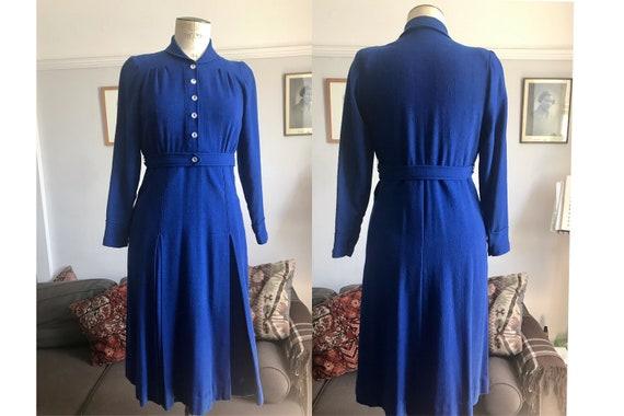 1930s lightweight wool dress in blue UK 8-10