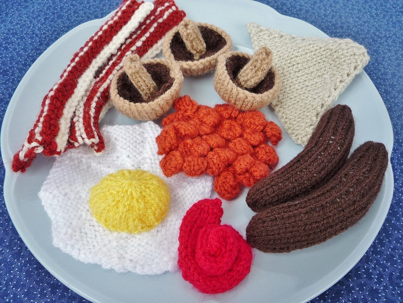 KNITTING PATTERN All Day Breakfast pretend play food image 0