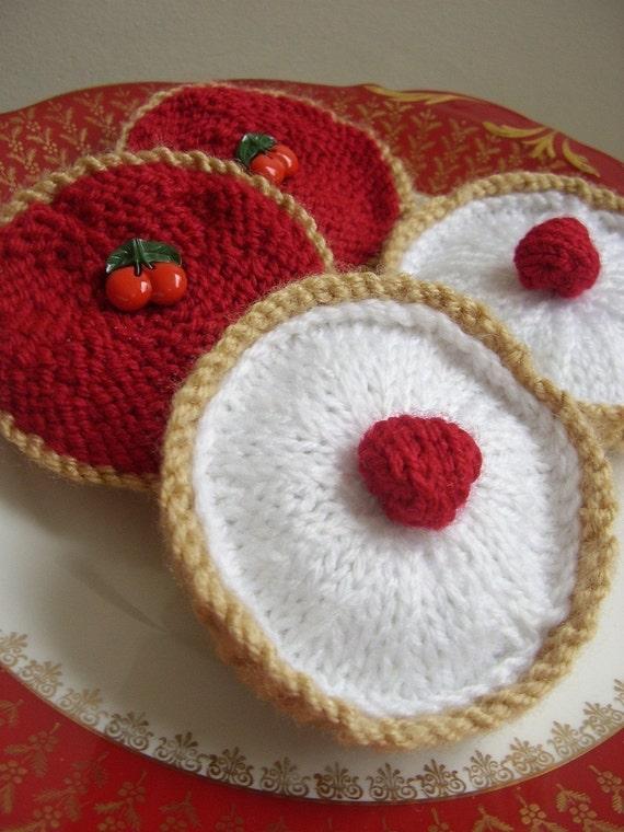 easy Knitting Pattern for Cherry BAKEWELL and Jam TART pdf