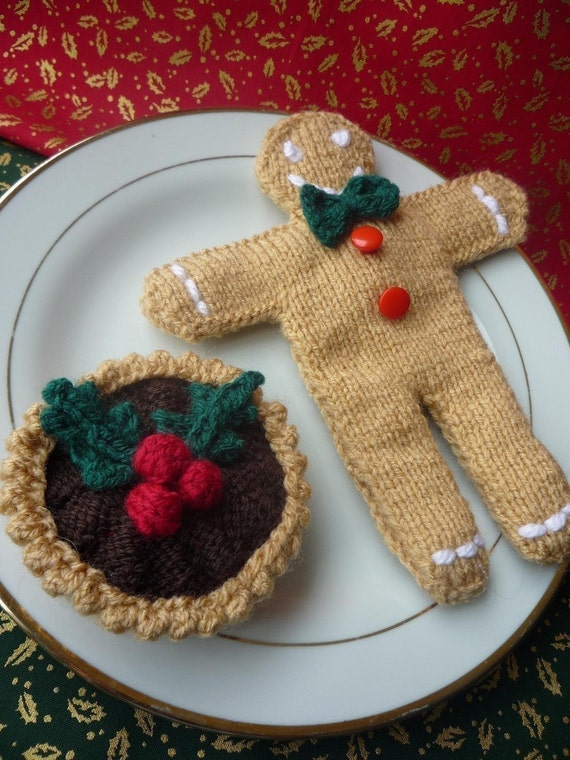 Knitting Pattern For Gingerbread Man And Mince Pie Etsy
