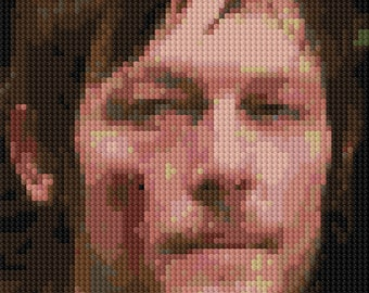 Portrait of Norman Reedus as Daryl Dixon counted Cross Stitch Pattern detailed digital download