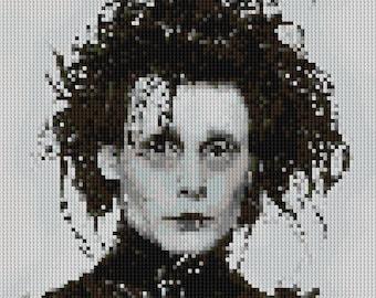 Edward Scissorhands portrait counted Cross Stitch Pattern Johnny Depp