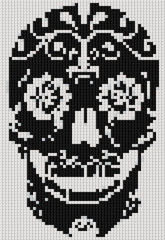 simple sugar skull day of the dead cross stitch pattern etsy