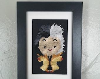 Cute Cruella DeVil framed cross stitched art