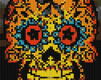 Sugar Skull Day of the Dead counted Cross Stitch Pattern nautical star