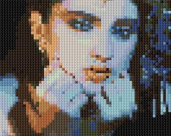 Portrait of Madonna counted Cross Stitch Pattern - 80's pop star