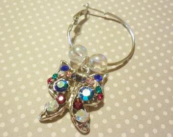 Butterfly earrings, butterfly charms, charm earrings, crystal rhinestones, hoop earrings, rhinestone butterflies, handmade jewelry