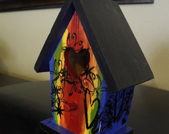 ALREADY SOLD: Primary Colors Birdhouse, wood